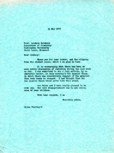 Letter from Linus Pauling to Lindsay Helmholz. Page 1. May 31, 1957