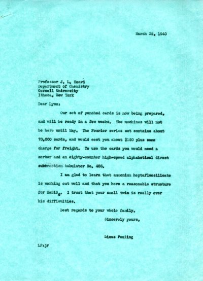 Letter from Linus Pauling to J. Lynn Hoard. Page 1. March 28, 1940