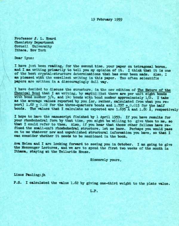 Letter from Linus Pauling to J. Lynn Hoard. Page 1. February 19, 1959