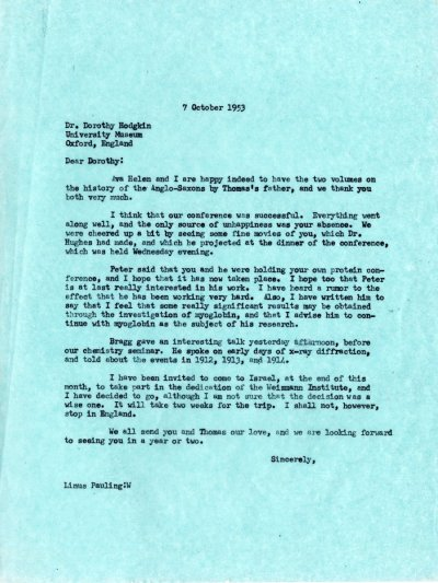 Letter from Linus Pauling to Dorothy Hodgkin. Page 1. October 7, 1953