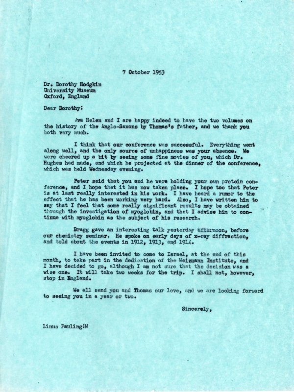 Letter from Linus Pauling to Dorothy Hodgkin.Page 1. October 7, 1953