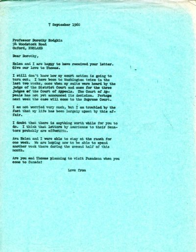 Letter from Linus Pauling to Dorothy Hodgkin. Page 1. September 7, 1960