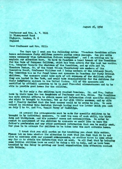 Letter from Linus Pauling to A.V. Hill and Mrs. Hill. Page 1. August 26, 1940