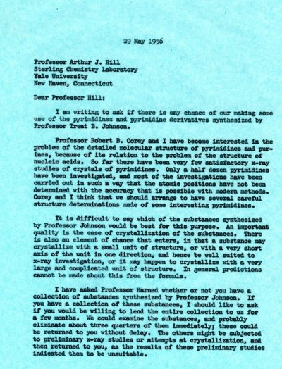 Letter from Linus Pauling to Arthur J. Hill. Page 1. May 29, 1956