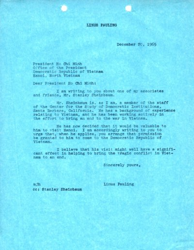 Letter from Linus Pauling to Ho Chi Minh.Page 1. December 20, 1965