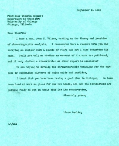 Letter from Linus Pauling to Thorfin Hogness. Page 1. September 8, 1938