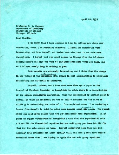 Letter from Linus Pauling to Thorfin Hogness.Page 1. April 26, 1939