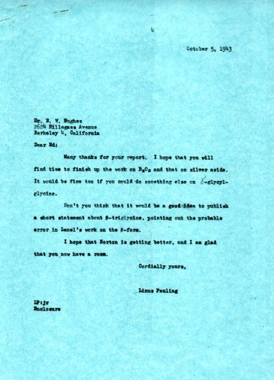 Letter from Linus Pauling to Eddie Hughes. Page 1. October 5, 1943