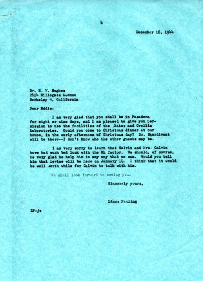 Letter from Linus Pauling to Eddie Hughes. Page 1. December 16, 1944