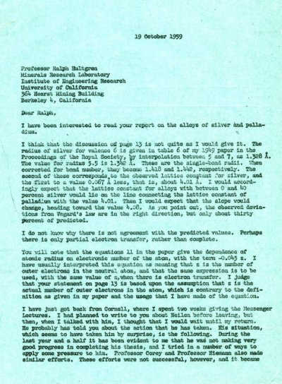 Letter from Linus Pauling to Ralph Hultgren. Page 1. October 19, 1959