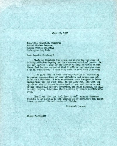 Letter from Linus Pauling to Hubert Humphrey.Page 1. June 25, 1951