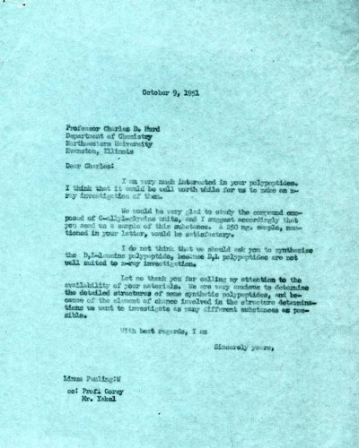 Letter from Linus Pauling to Charles Hurd.Page 1. October 9, 1951