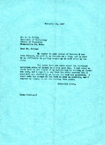 Letter from Linus Pauling to G.B. Heisig. Page 1. November 26, 1947