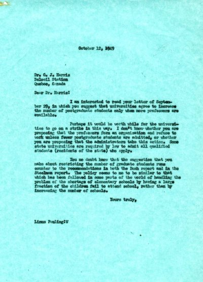 Letter from Linus Pauling to G.J. Harris. Page 1. October 12, 1949