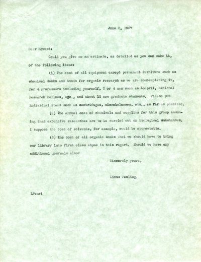 Letter from Linus Pauling to Howard J. Lucas. Page 1. June 2, 1937