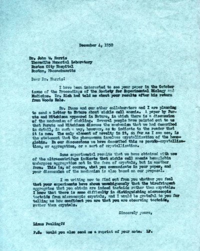 Letter from Linus Pauling to John Harris.Page 1. December 4, 1950