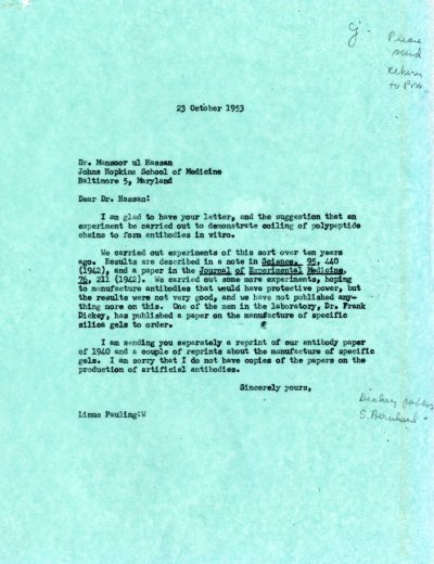 Letter from Linus Pauling to Mansoor ul Hassan. Page 1. October 23, 1953