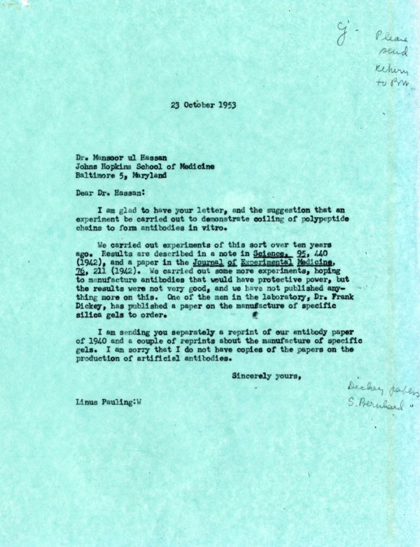 Letter from Linus Pauling to Mansoor ul Hassan.Page 1. October 23, 1953