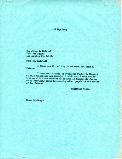 Letter from Linus Pauling to James A. Halsted.Page 1. May 26, 1954