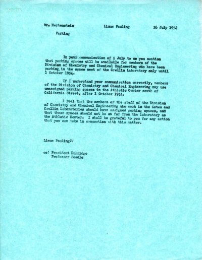 Letter from Linus Pauling to Wesley Hertenstein.Page 1. July 26, 1954