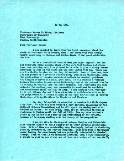 Letter from Linus Pauling to Marcus E. Hobbs.Page 1. May 12, 1954