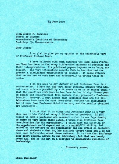 Letter from Linus Pauling to George R. Harrison. Page 1. June 13, 1955
