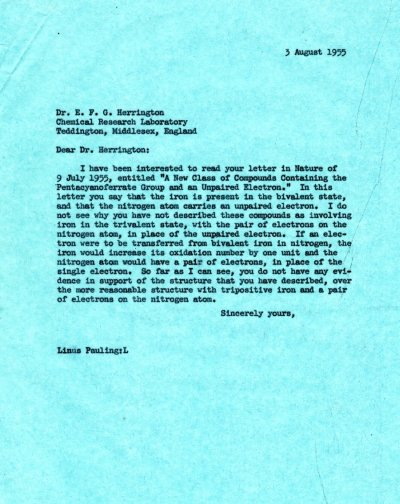Letter from Linus Pauling to E.F.G. Herrington. Page 1. August 3, 1955