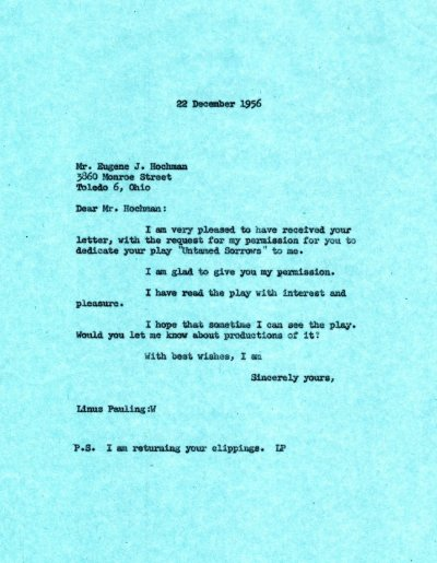 Letter from Linus Pauling to Eugene J. Hochman. Page 1. December 22, 1956