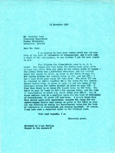 Letter from Linus Pauling to Herschel Hunt. Page 1. December 13, 1956