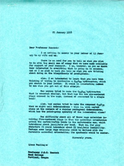 Letter from Linus Pauling to J.E.H. Hancock. Page 1. January 21, 1958