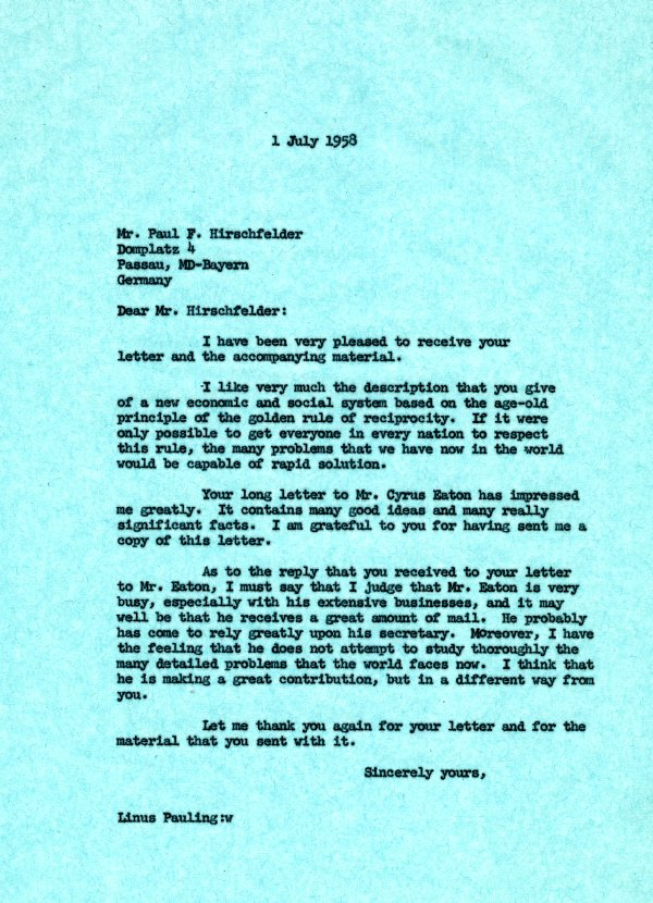 Letter from Linus Pauling to Paul F. Hirschfelder.Page 1. July 1, 1958