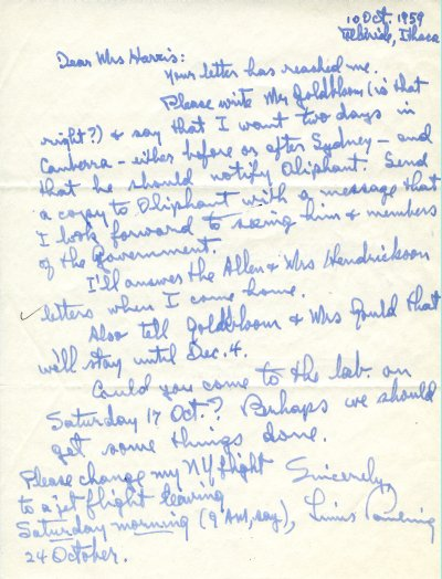 Letter from Linus Pauling to Joan Harris. Page 1. October 10, 1959