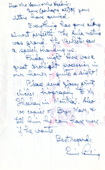 Letter from Linus Pauling to Joan Harris and Linda Hopkins. Page 1. May 8, 1961