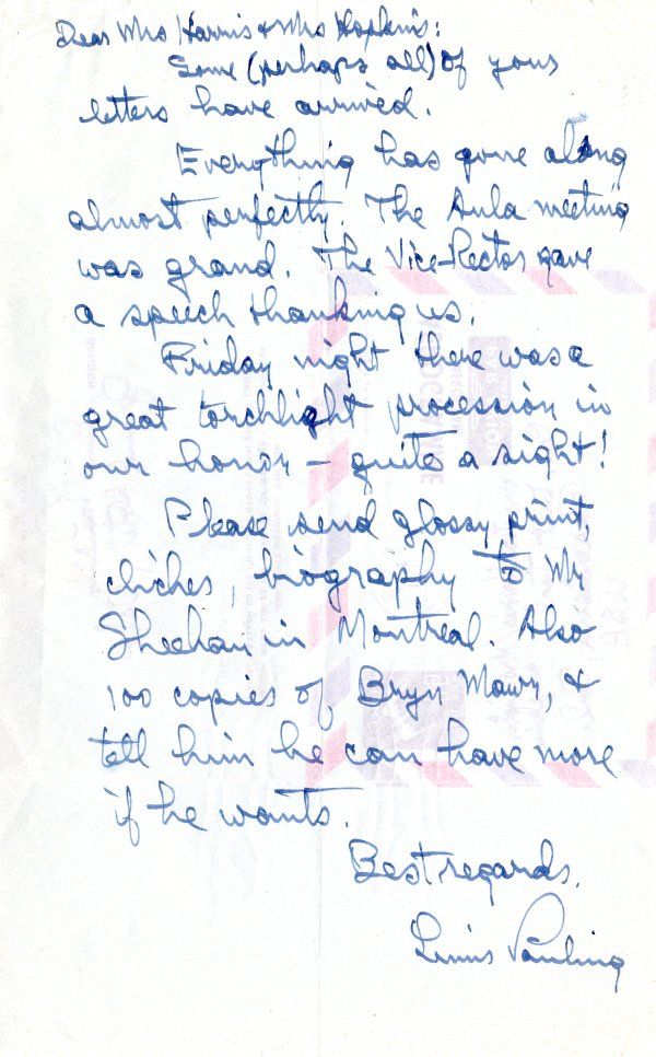 Letter from Linus Pauling to Joan Harris and Linda Hopkins.Page 1. May 8, 1961