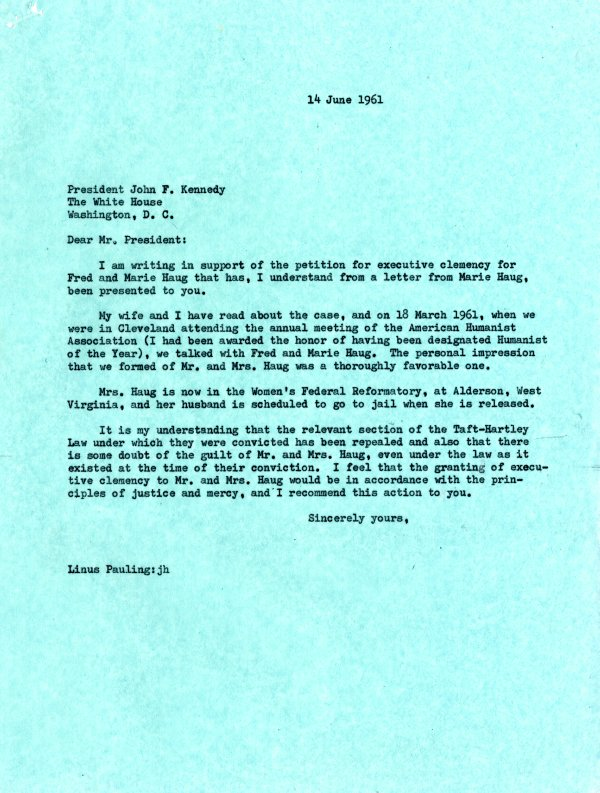 Letter from Linus Pauling to John F. Kennedy. Page 1. June 14, 1961