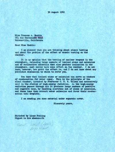 Letter from Linus Pauling to Francis A. Haskin. Page 1. August 30, 1962