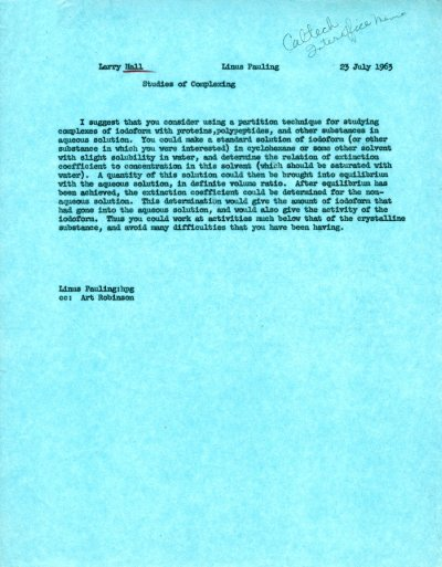 Letter from Linus Pauling to Larry Hall.Page 1. July 23, 1963