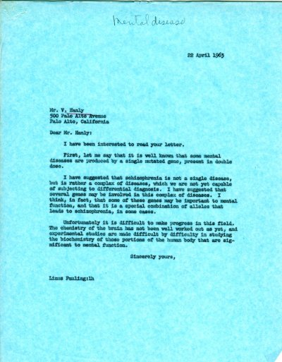 Letter from Linus Pauling to V. Hanly. Page 1. April 22, 1963