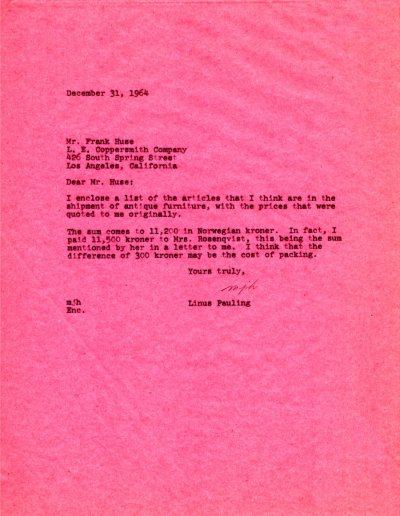 Letter from Linus Pauling to Frank Huse. Page 1. December 31, 1964