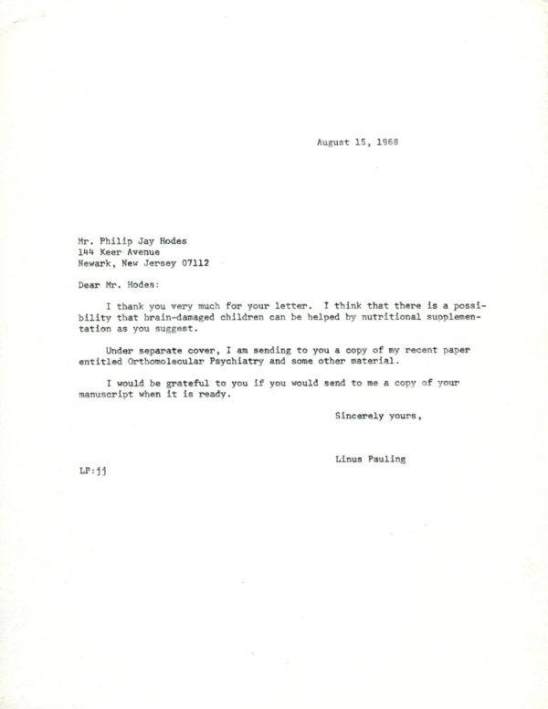 Letter from Linus Pauling to Philip Jay Hodes.Page 1. August 15, 1968