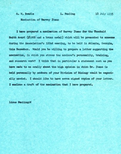 Memorandum from Linus Pauling to George Beadle. Page 1. July 18, 1955