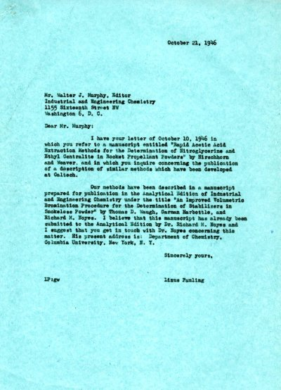 Letter from Linus Pauling to Walter J. Murphy.Page 1. October 21, 1946