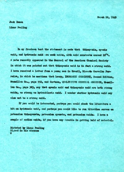 Letter from Linus Pauling to Jack Inman. Page 1. March 28, 1949