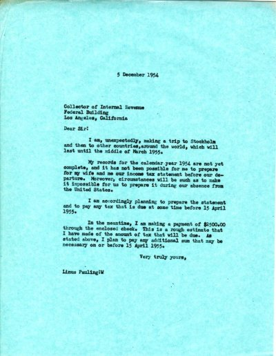 Letter from Linus Pauling to the Collector of Internal Revenue Page 1. December 5, 1954