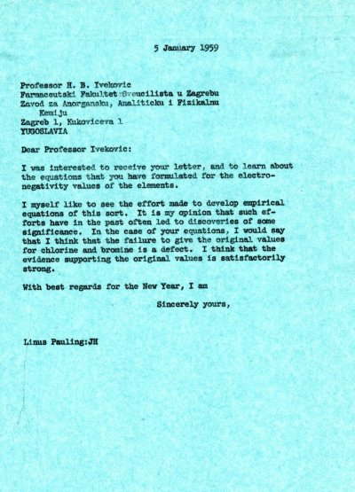 Letter from Linus Pauling to H.B. Ivekovic. Page 1. January 5, 1959