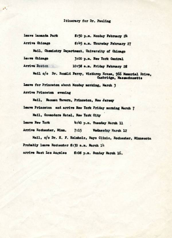 Travel itinerary for Linus Pauling.Page 1. March 11, 1941
