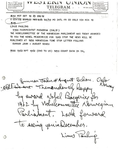 Letter from Linus Pauling to Gunnar Jahn and August Schou.Page 1. October 14, 1963
