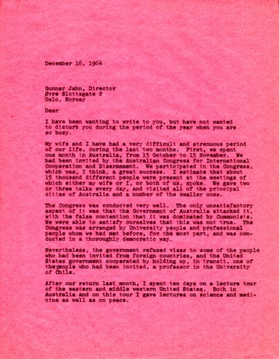 Letter from Linus Pauling to Gunnar Jahn. Page 1. December 16, 1964