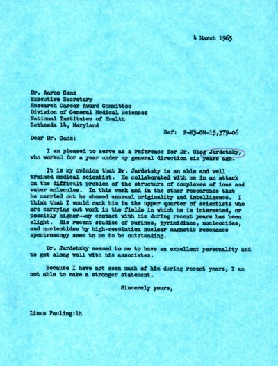 Letter from Linus Pauling to Aaron Ganz.Page 1. March 4, 1963