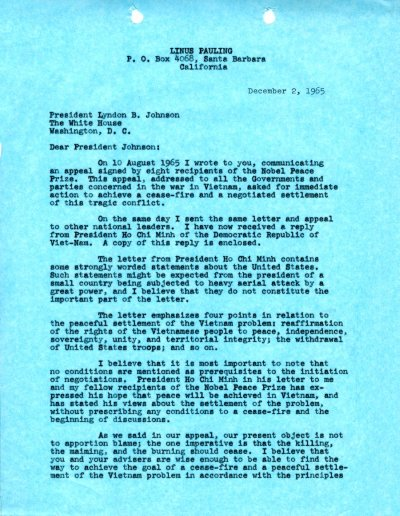 Letter from Linus Pauling to Lyndon B. Johnson.Page 1. December 2, 1965
